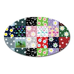 Dino Quilt Oval Magnet