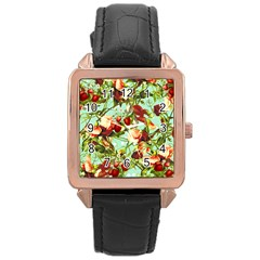 Fruit Blossom Rose Gold Leather Watch  by snowwhitegirl