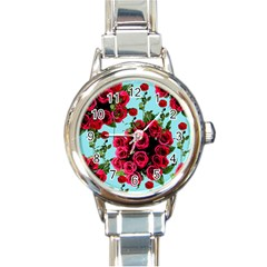 Roses Blue Round Italian Charm Watch by snowwhitegirl