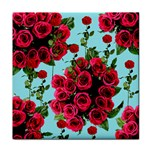 Roses Blue Tile Coasters Front