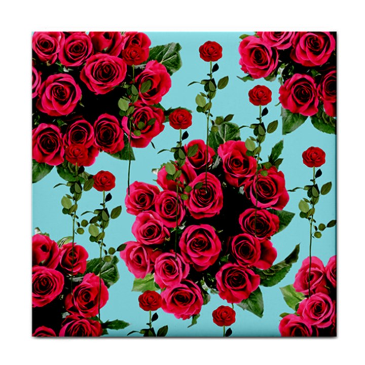 Roses Blue Tile Coasters