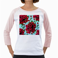 Roses Blue Girly Raglans