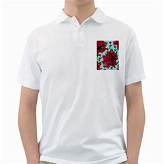 Roses Blue Golf Shirts