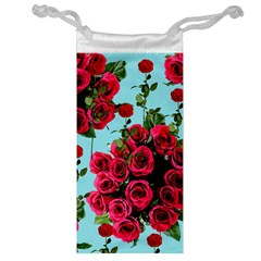 Roses Blue Jewelry Bag