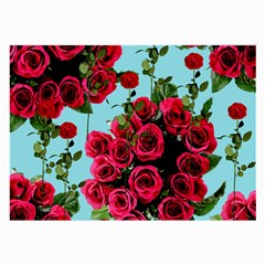 Roses Blue Large Glasses Cloth