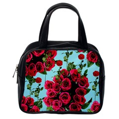 Roses Blue Classic Handbags (one Side)