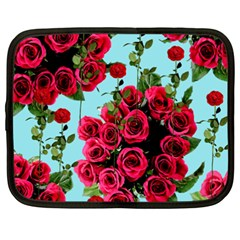 Roses Blue Netbook Case (xxl)  by snowwhitegirl