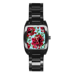 Roses Blue Stainless Steel Barrel Watch
