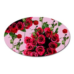 Roses Pink Oval Magnet