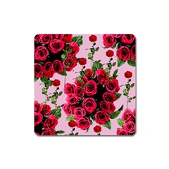 Roses Pink Square Magnet