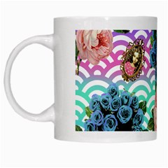 Floral Waves White Mugs