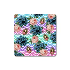 Floral Waves Square Magnet