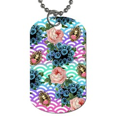 Floral Waves Dog Tag (two Sides)