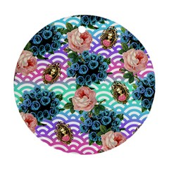 Floral Waves Round Ornament (two Sides) by snowwhitegirl