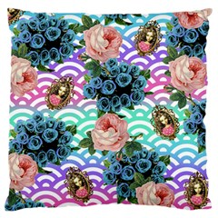 Floral Waves Large Cushion Case (two Sides) by snowwhitegirl