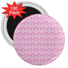 Damask Pink 3  Magnets (100 Pack)