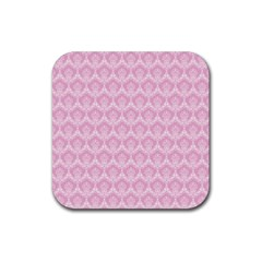 Damask Pink Rubber Coaster (square)