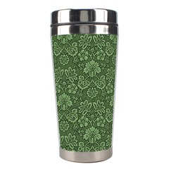 Damask Green Stainless Steel Travel Tumblers by snowwhitegirl