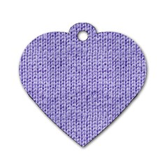 Knitted Wool Lilac Dog Tag Heart (two Sides)