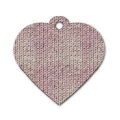 Knitted Wool Pink Light Dog Tag Heart (two Sides) by snowwhitegirl