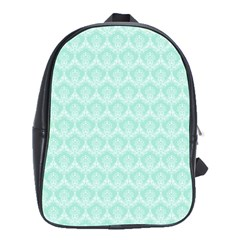 Damask Aqua Green School Bag (large) by snowwhitegirl