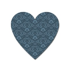 Damask Blue Heart Magnet