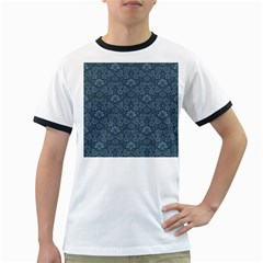 Damask Blue Ringer T-shirts
