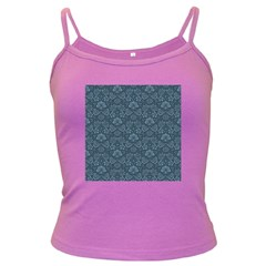 Damask Blue Dark Spaghetti Tank