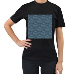 Damask Blue Women s T Shirt (black) by snowwhitegirl