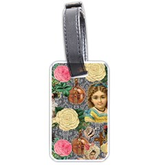 Damask Religious Victorian Grey Luggage Tags (one Side)  by snowwhitegirl
