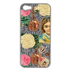 Damask Religious Victorian Grey Apple Iphone 5 Case (silver) by snowwhitegirl