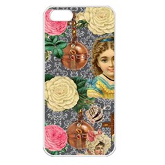 Damask Religious Victorian Grey Apple Iphone 5 Seamless Case (white) by snowwhitegirl