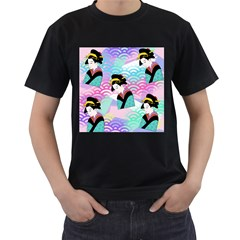 Japanese Abstract Men s T-shirt (black) (two Sided)