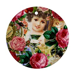 Little Girl Victorian Collage Ornament (round)