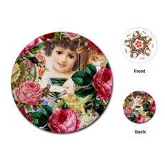 Little Girl Victorian Collage Playing Cards (round)  by snowwhitegirl