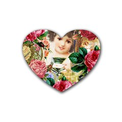 Little Girl Victorian Collage Heart Coaster (4 Pack)  by snowwhitegirl
