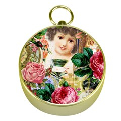 Little Girl Victorian Collage Gold Compasses by snowwhitegirl