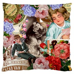 Victorian Collage Large Flano Cushion Case (one Side) by snowwhitegirl