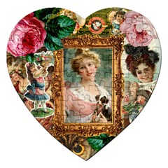 Victorian Collage Of Woman Jigsaw Puzzle (heart) by snowwhitegirl