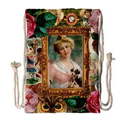 Victorian Collage Of Woman Drawstring Bag (large) by snowwhitegirl