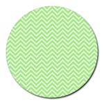 Green Chevron Round Mousepads Front