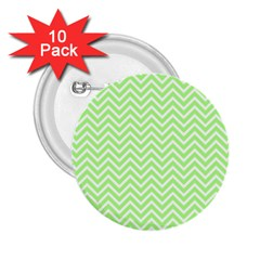 Green Chevron 2 25  Buttons (10 Pack)  by snowwhitegirl