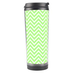 Green Chevron Travel Tumbler by snowwhitegirl