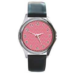 Red Chevron Round Metal Watch by snowwhitegirl