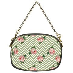 Green Chevron Rose Chain Purses (two Sides)  by snowwhitegirl
