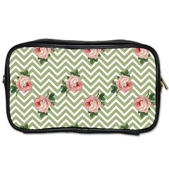Green Chevron Rose Toiletries Bags 2 Side by snowwhitegirl