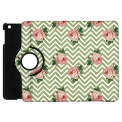 Green Chevron Rose Apple Ipad Mini Flip 360 Case by snowwhitegirl