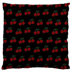 Cherries Black Large Cushion Case (one Side) by snowwhitegirl