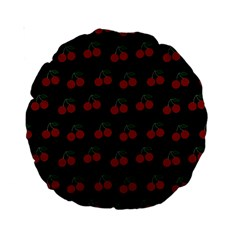 Cherries Black Standard 15  Premium Round Cushions by snowwhitegirl