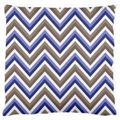 Chevron Blue Beige Large Cushion Case (one Side)
